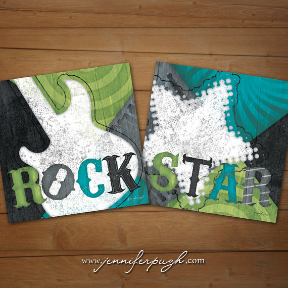 Rock Star Blue Green Set of 2 12x12 Art Prints by Jennifer Pugh Studios