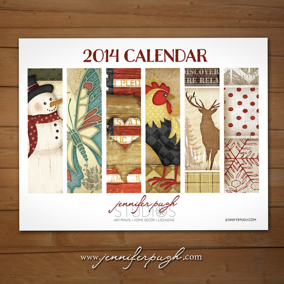 2014 13 month calendar by Jennifer Pugh.