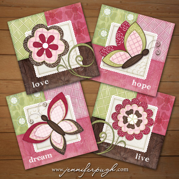 Whimsical Butterfly Set of 4 Art Prints by Jennifer Pugh.