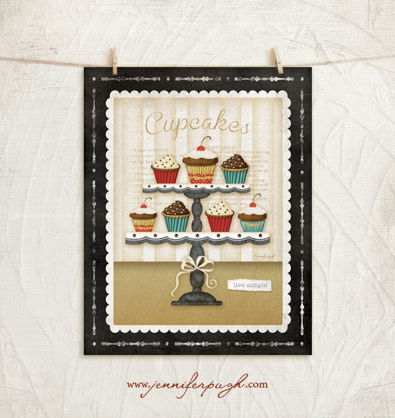 Kitchen Cuisine Cupcakes Art Print by Jennifer Pugh