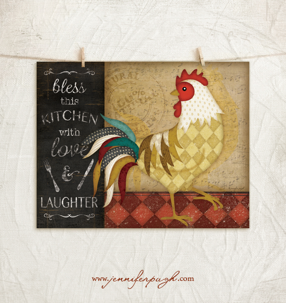 Kitchen Cuisine Rooster IV art print by Jennifer Pugh.