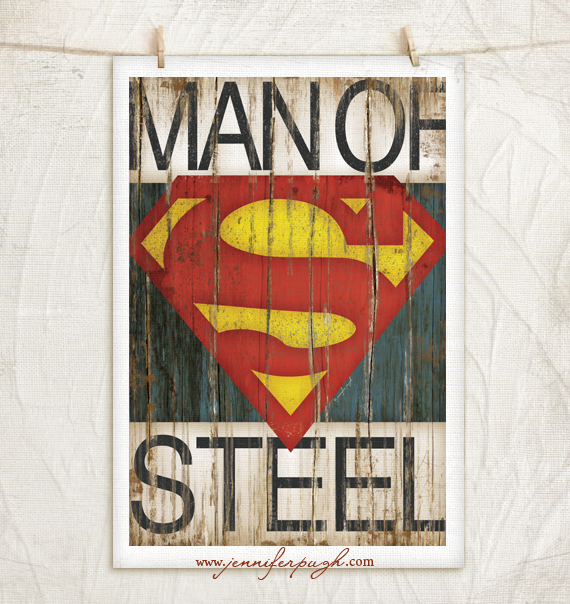Man of Steel -Superman Art Print by Jennifer Pugh Studios.