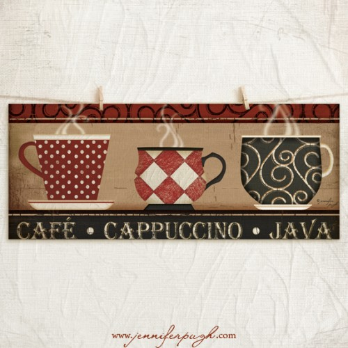 Cafe Cappuccino Java Art Print by Jennifer Pugh Studios.