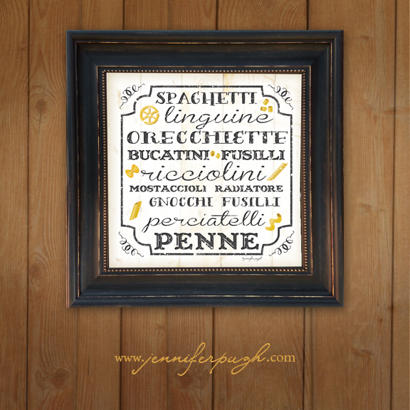 Italian Pasta -White Framed Art Print by Jennifer Pugh Studios.