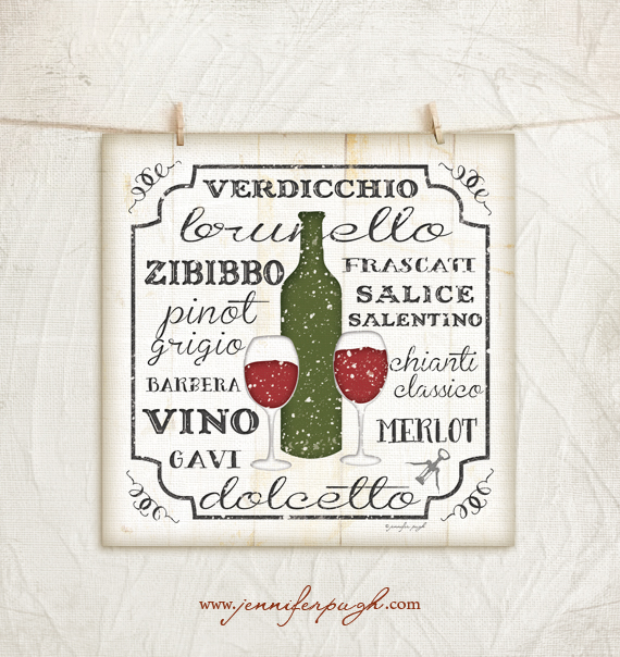 Italian Wines I art print by Jennifer Pugh.