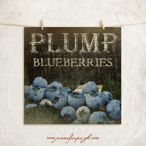 Plump Blueberries art print by Jennifer Pugh Studios.