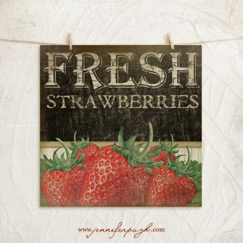 Fresh Strawberries by Jennifer Pugh Studios.