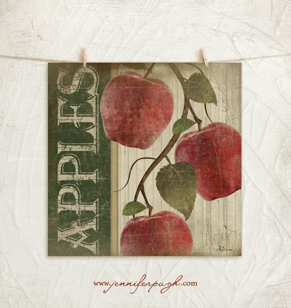Vintage Red Apples Giclee Art Print