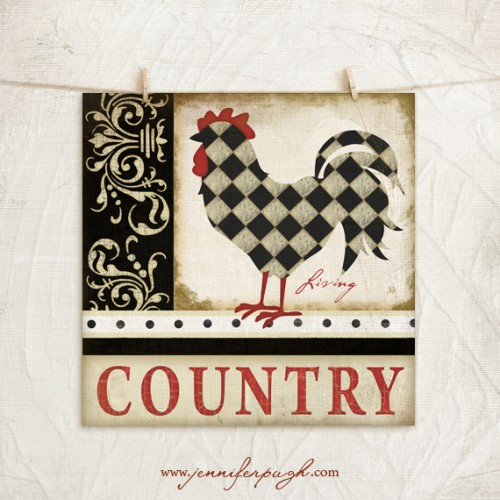 Country Living Rooster Giclee Art Print by Jennifer Pugh.