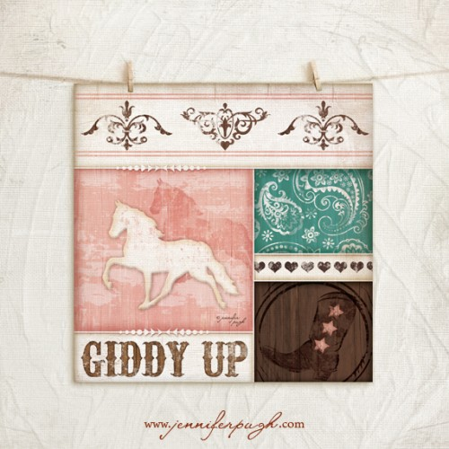 Giddy Up Art Print by Jennifer Pugh.