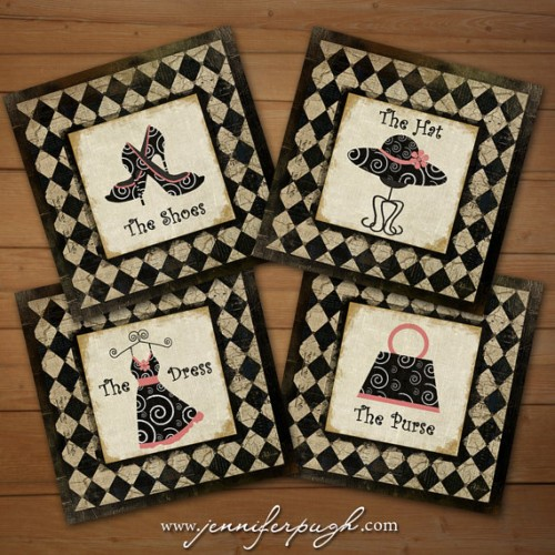 Glamor Girls Collection Set of 4 Art Prints by Jennifer Pugh Studios.