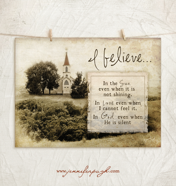 I Believe 12x18 Art Print by Jennifer Pugh Studios