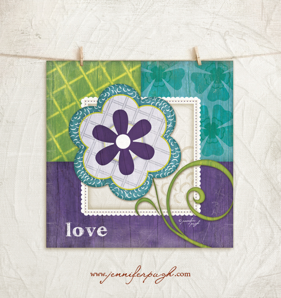 Whimsical Flower Love Purple/Teal 12×12 Art Print