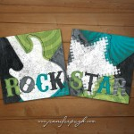 Rock Star Blue Green Set of 2 Art Prints by Jennifer Pugh Studios.