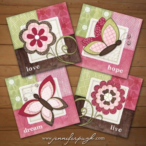 Whimsical Butterfly Set of 4 Art Prints by Jennifer Pugh Studios.