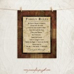 Count Your Blessings Family Rules 11x14 A