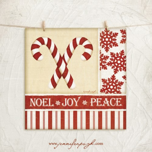 Candy Cane Noel Art Print by Jennifer Pugh.