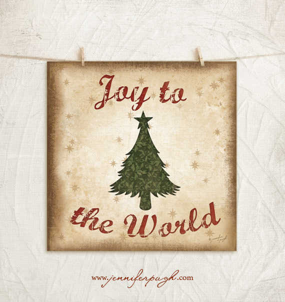 Incorporating Red Green In Every Room For The Holidays: Joy To The World-Rustic Red Green 12×12 Art Print