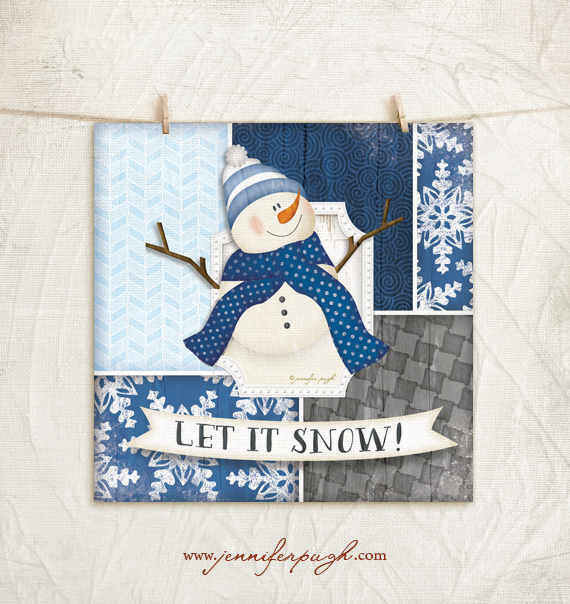 Let it snow snowman art print jennifer pugh studios