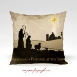Nativity Pillow-Shepherds Flock includes beautiful artwork by Jennifer Pugh.