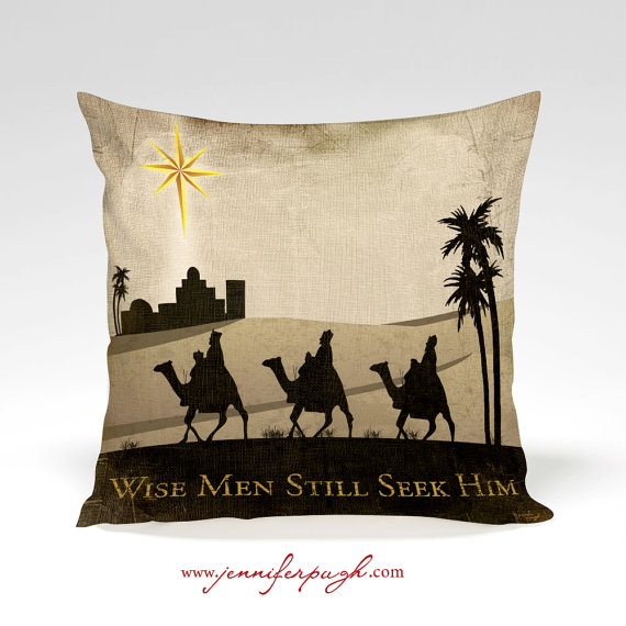 Nativity Pillow-Wise Men Still Seek Him includes beautiful artwork by Jennifer Pugh.