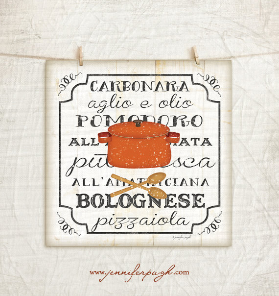 Italian Sauces I Art Print by Jennifer Pugh.