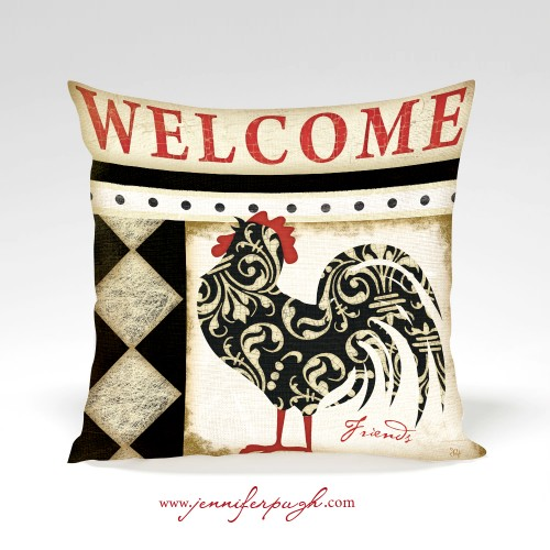Welcome Rooster pillow by Jennifer Pugh Studios.