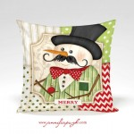 Mustache Snowman Merry Pillow Front