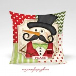 Mustache Snowman Peace Pillow Front