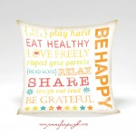 Be Happy Inspirational Pillow