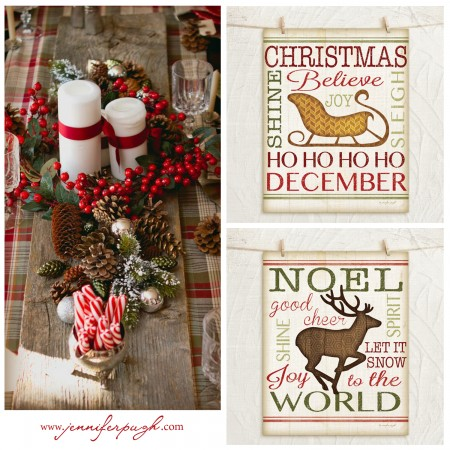 Holiday Decorating Ideas -place setting with Sleigh and Reindeer Prints.