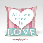 All We Need is Love Valentine Pillow by Jennifer Pugh.