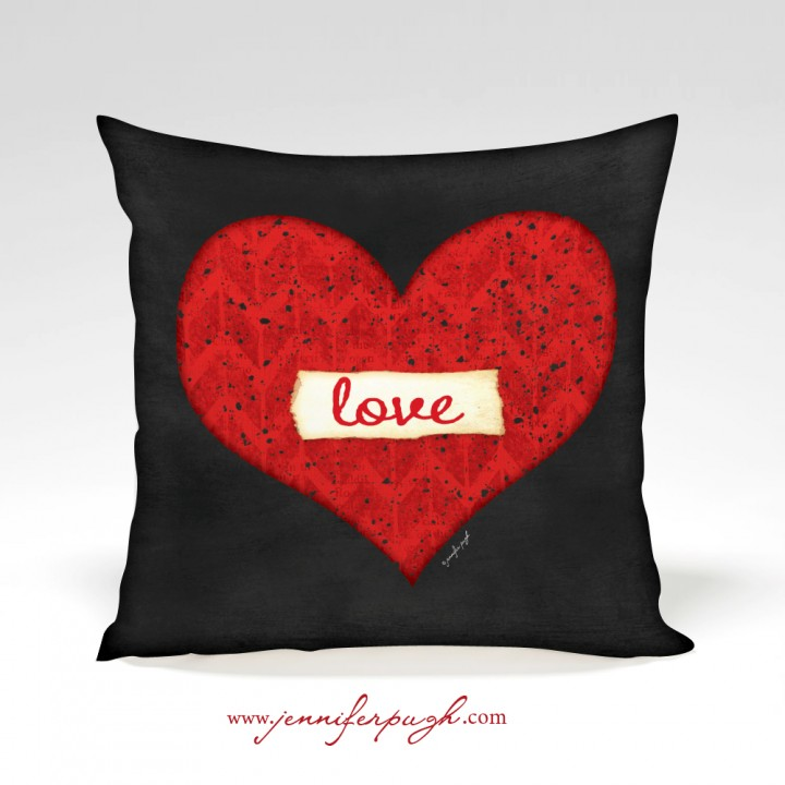 HeartLove Valentine Pillow16x16 by Jennifer Pugh.