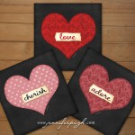 Set of 3 -6x6 Hearts Collection Giclee Art Prints