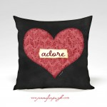 Heart Adore Valentine Pillow by Jennifer Pugh