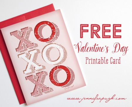 free printable valentine card by Jennifer Pugh.