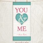You & Me Pink Blue Giclee Fine Art Print by Jennifer Pugh.