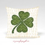 Clover I Tan St. Patrick's Day Pillow by Jennifer Pugh