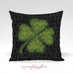 Clover I Black St Patrick's day Pillow by Jennifer Pugh