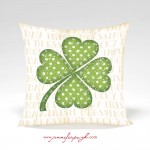 Clover II Tan St Patricks Day Pillow by Jennifer Pugh.