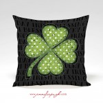 Clover II Black St. Patrick's Day Pillow by Jennifer Pugh.