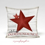 Celebrate Independence pillow with art work by Jennifer Pugh.