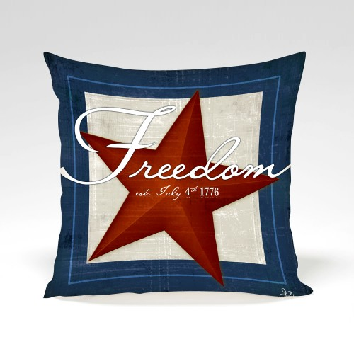 Freedom pillow with art work by Jennifer Pugh.