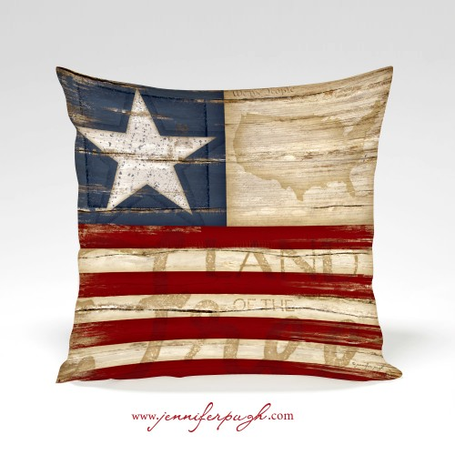 Land of the Free pillow by Jennifer Pugh.