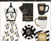 Black White Gold Collection includes many fun accessories for the kitchen such as aprons, plates, towels and more.