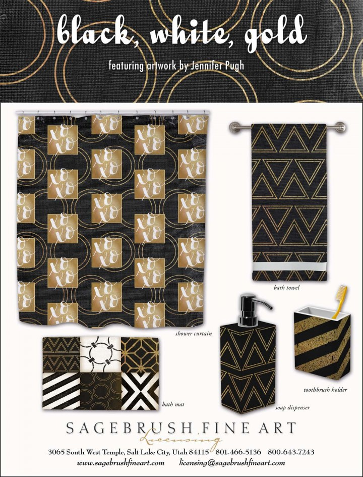 Black, White, Gold Collection includes many fun accessories for the bathroom such as show curtains, rugs, towels, soap holders and more.