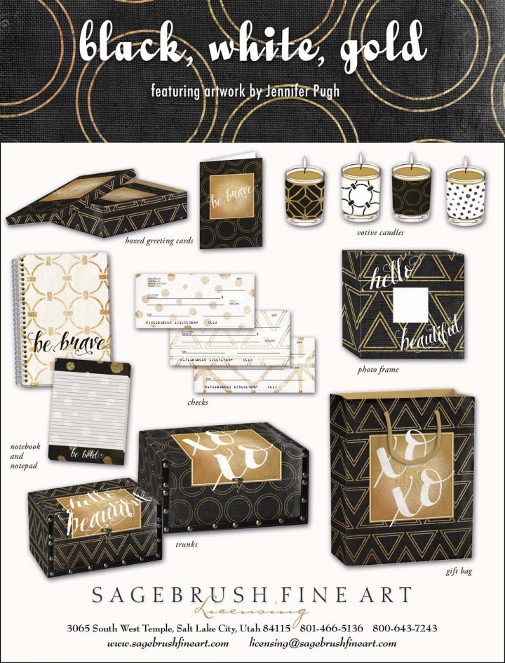 Black, White, Gold Collection includes many fun accessories for such as checks, stationary, journals, candles, cards and more.