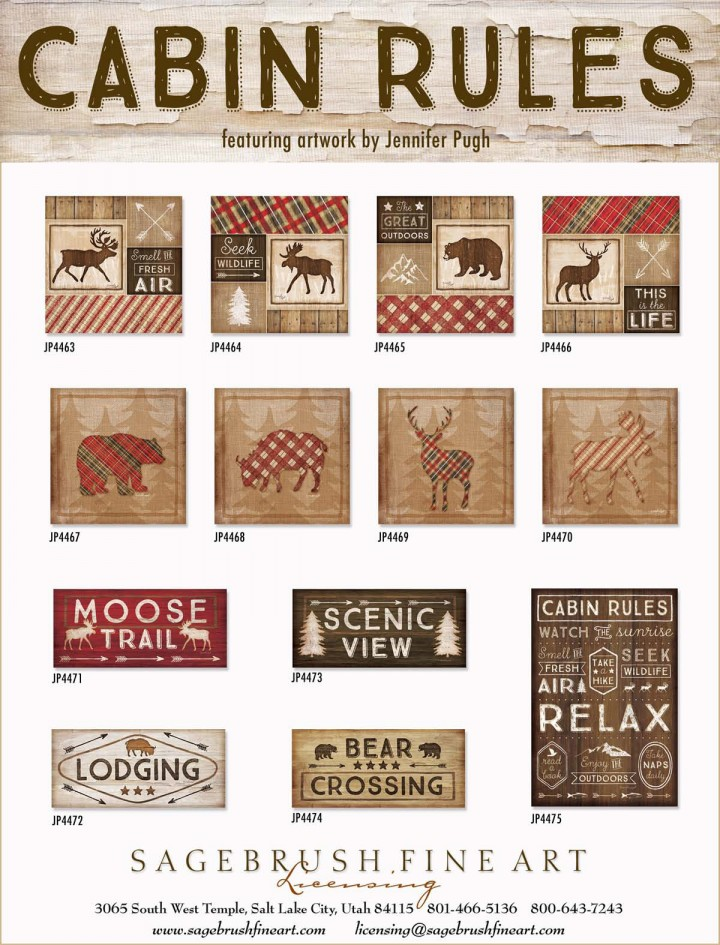 Cabin Rules Collection includes many fun prints and images to decorate your cabin in the woods.