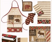 Cabin Rules Collection includes fun accessories to decorate your cabin kitchen in the woods including aprons, hot pads, rugs, recipe cards and more.