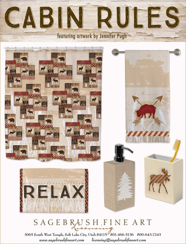 Cabin Rules Collection includes fun accessories to decorate your cabin bathroom in the woods including shower curtains, towels, soap dishes and more.
